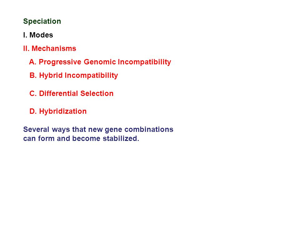 Speciation I. Modes II. Mechanisms A. Progressive Genomic Incompatibility B. Hybrid Incompatibility C. Differential Selection D. Hybridization Several