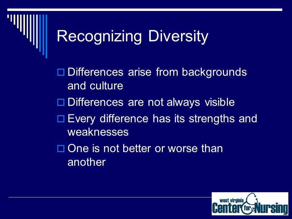 Recognizing Diversity  Differences arise from backgrounds and culture  Differences are not always visible  Every difference has its strengths and weaknesses  One is not better or worse than another