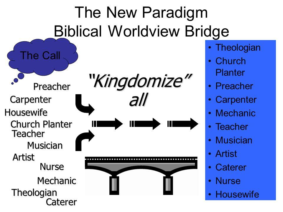 The New Paradigm Biblical Worldview Bridge The Call Theologian Church Planter Preacher Carpenter Mechanic Teacher Musician Artist Caterer Nurse Housew