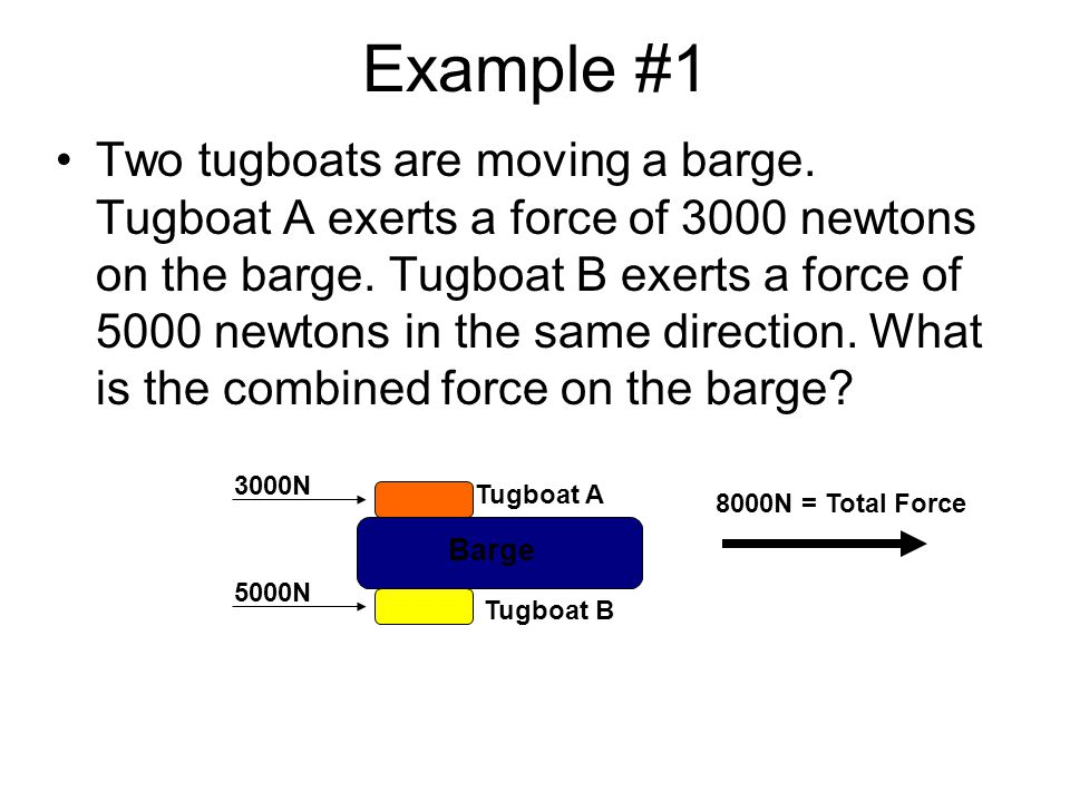 Example #2 Now suppose that Tugboat A exerts a force of 2000 newtons on the barge and Tugboat B exerts a force of 4000 newtons in the opposite direction.