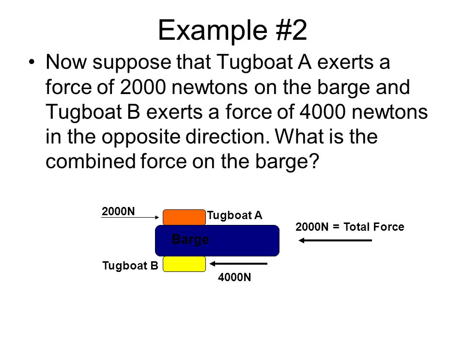 Example #2 Now suppose that Tugboat A exerts a force of 2000 newtons on the barge and Tugboat B exerts a force of 4000 newtons in the opposite directi