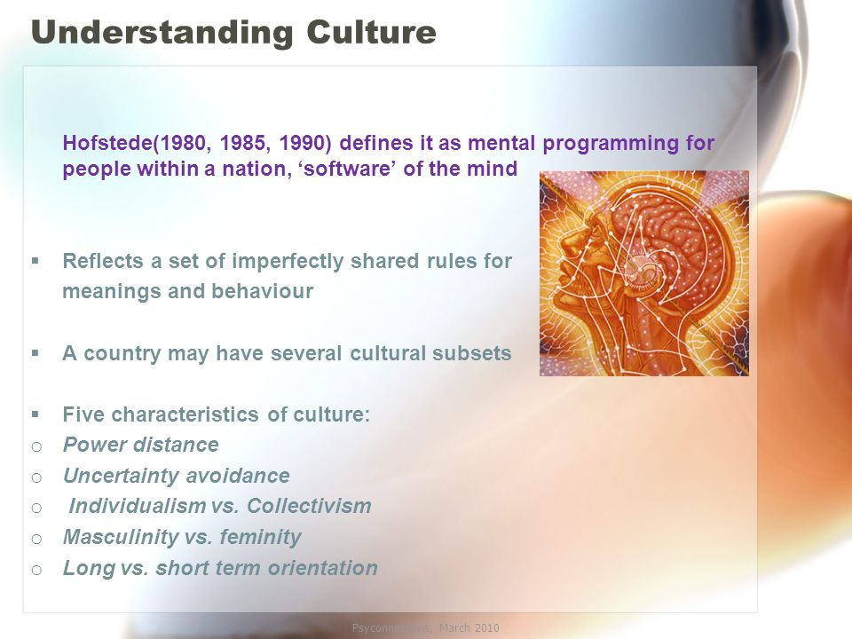 Understanding Culture Hofstede(1980, 1985, 1990) defines it as mental programming for people within a nation, 'software' of the mind  Reflects a set of imperfectly shared rules for meanings and behaviour  A country may have several cultural subsets  Five characteristics of culture: o Power distance o Uncertainty avoidance o Individualism vs.