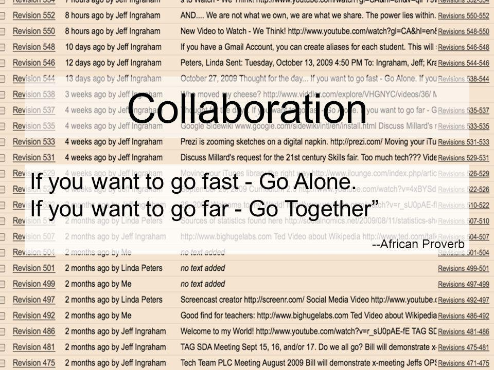 Collaboration If you want to go fast - Go Alone.