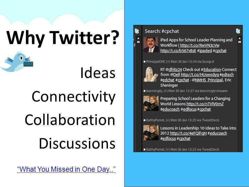 Why Twitter? Ideas Connectivity Collaboration Discussions What You Missed in One Day..