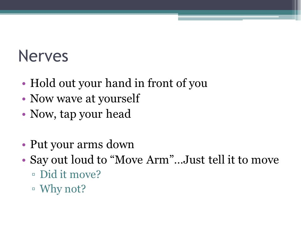 """Nerves Hold out your hand in front of you Now wave at yourself Now, tap your head Put your arms down Say out loud to """"Move Arm""""…Just tell it to move ▫"""