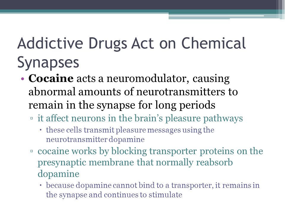 Addictive Drugs Act on Chemical Synapses Cocaine acts a neuromodulator, causing abnormal amounts of neurotransmitters to remain in the synapse for lon