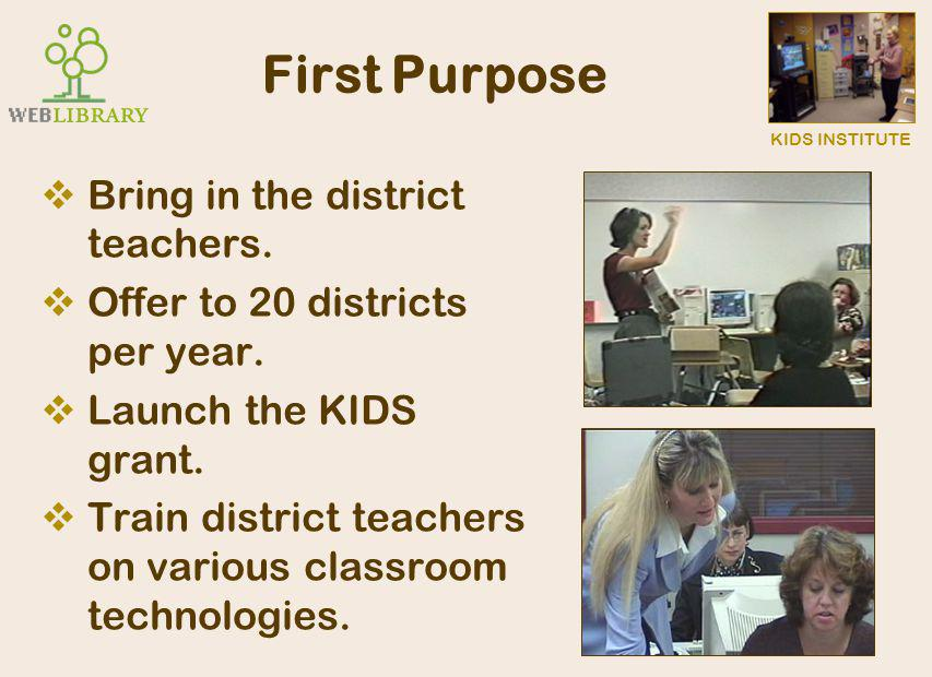 KIDS INSTITUTE Second Purpose  Introduce them to the KIDS model of instruction.