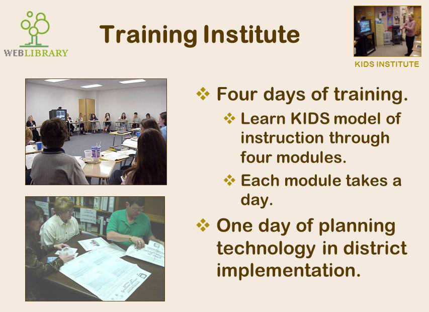 KIDS INSTITUTE Impact of KIDS Institute  Engaged in learning.  Engaged in familiar technologies.