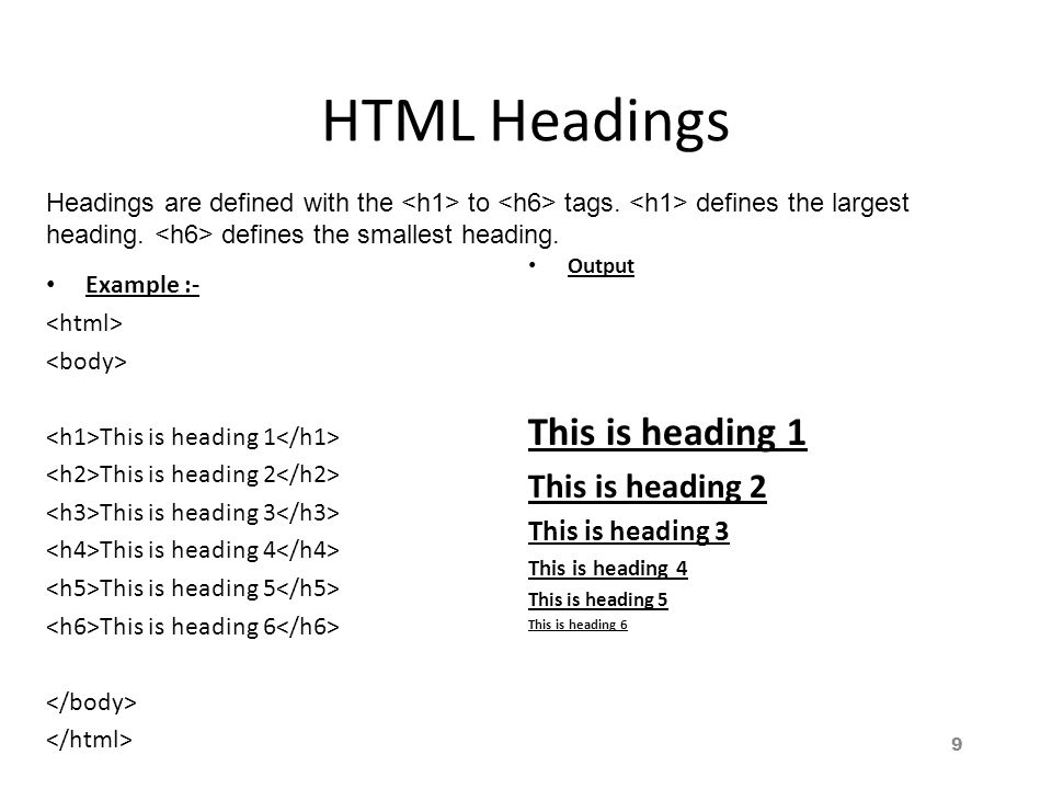 HTML Headings Example :- This is heading 1 This is heading 2 This is heading 3 This is heading 4 This is heading 5 This is heading 6 Output This is heading 1 This is heading 2 This is heading 3 This is heading 4 This is heading 5 This is heading 6 Headings are defined with the to tags.