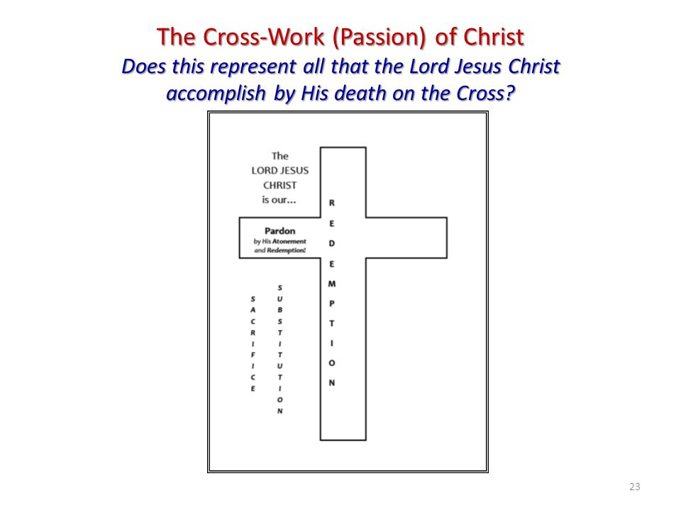 The Cross-Work (Passion) of Christ Does this represent all that the Lord Jesus Christ accomplish by His death on the Cross? 23