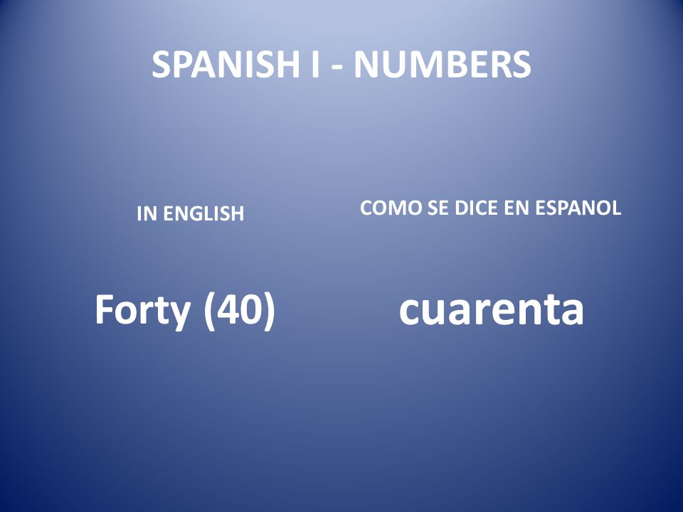 SPANISH I - NUMBERS IN ENGLISH Forty (40) COMO SE DICE EN ESPANOL cuarenta
