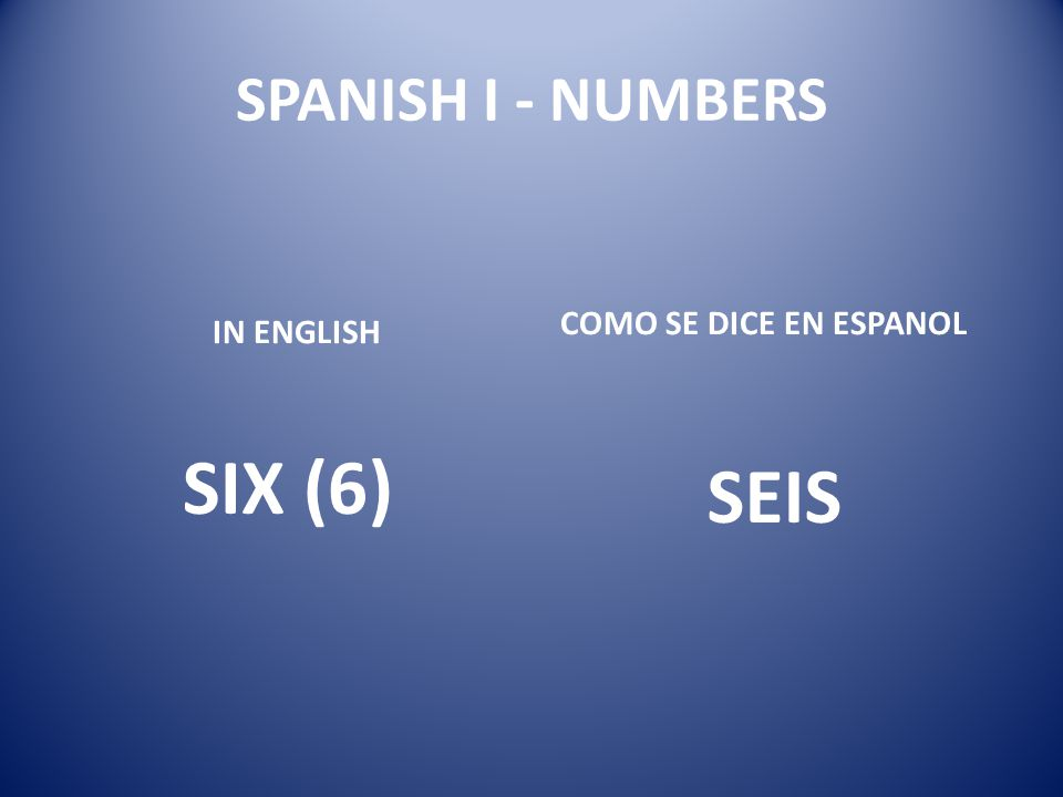 SPANISH I - NUMBERS IN ENGLISH SIX (6) COMO SE DICE EN ESPANOL SEIS