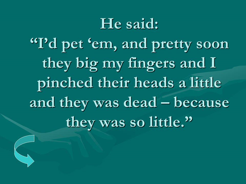 "He said: ""I'd pet 'em, and pretty soon they big my fingers and I pinched their heads a little and they was dead – because they was so little."""
