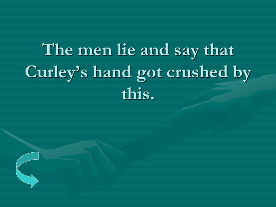 The men lie and say that Curley's hand got crushed by this.