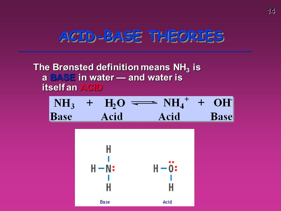 14 ACID-BASE THEORIES The Brønsted definition means NH 3 is a BASE in water — and water is itself an ACID