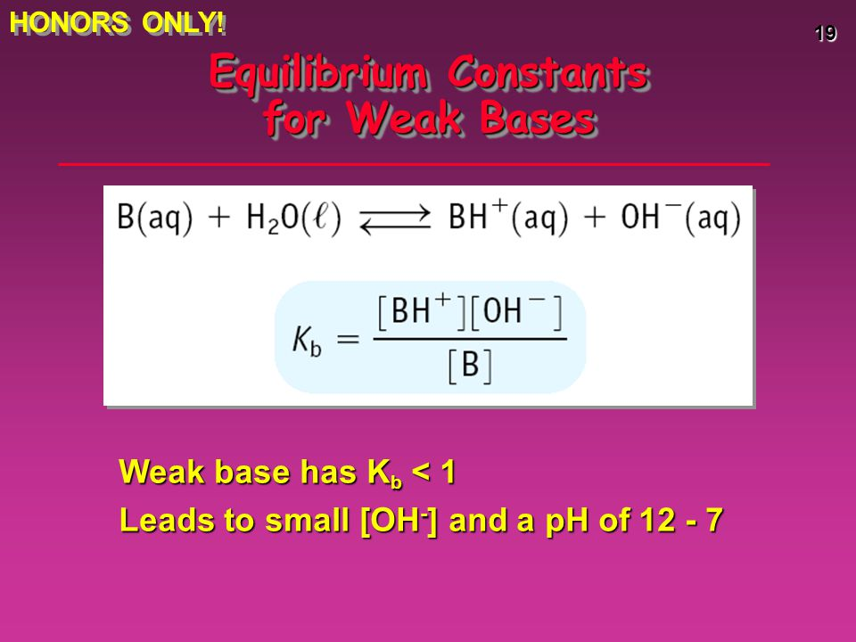 19 Equilibrium Constants for Weak Bases Weak base has K b < 1 Leads to small [OH - ] and a pH of 12 - 7 HONORS ONLY!