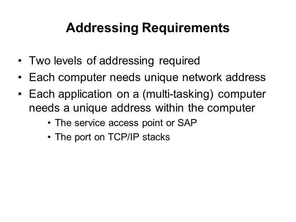 Addressing Requirements Two levels of addressing required Each computer needs unique network address Each application on a (multi-tasking) computer ne