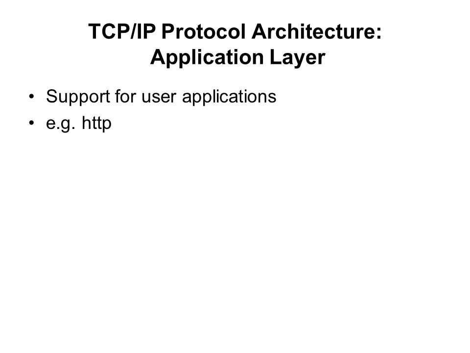 TCP/IP Protocol Architecture: Application Layer Support for user applications e.g. http