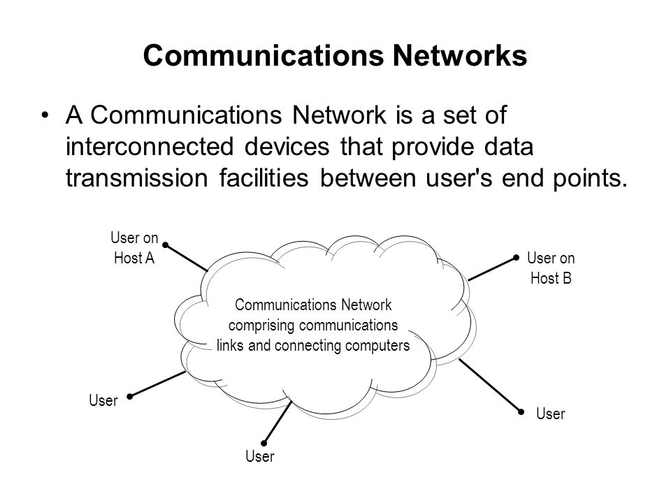 Communications Networks A Communications Network is a set of interconnected devices that provide data transmission facilities between user's end point