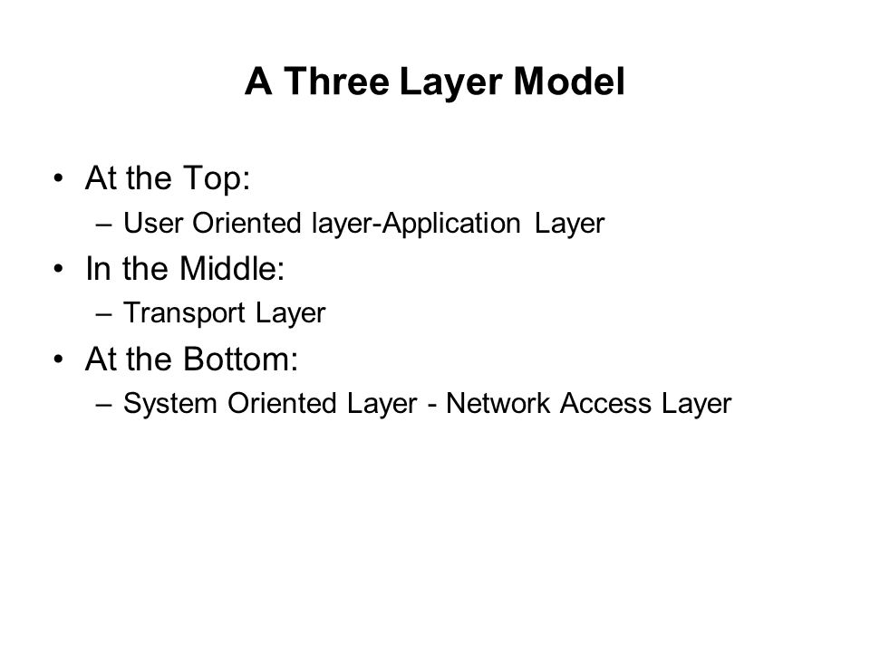 A Three Layer Model At the Top: –User Oriented layer-Application Layer In the Middle: –Transport Layer At the Bottom: –System Oriented Layer - Network
