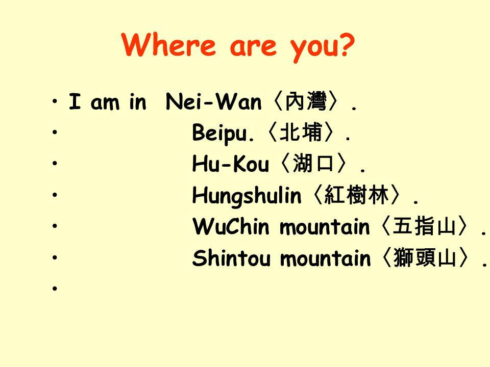 I am in Nei-Wan 〈內灣〉.Beipu. 〈北埔〉. Hu-Kou 〈湖口〉. Hungshulin 〈紅樹林〉.