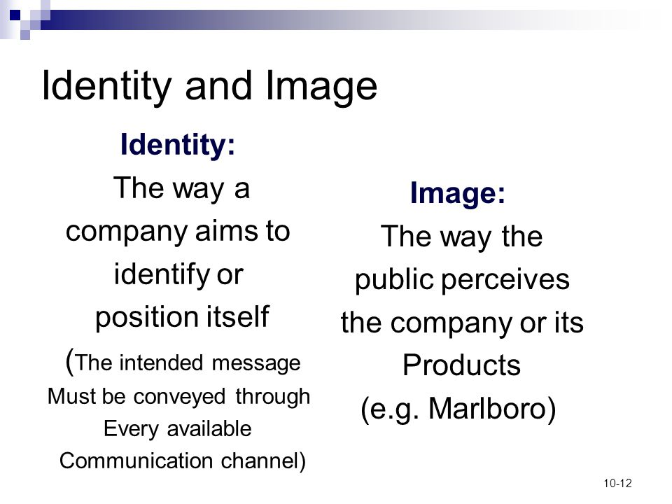 10-12 Identity and Image Identity: The way a company aims to identify or position itself ( The intended message Must be conveyed through Every availab