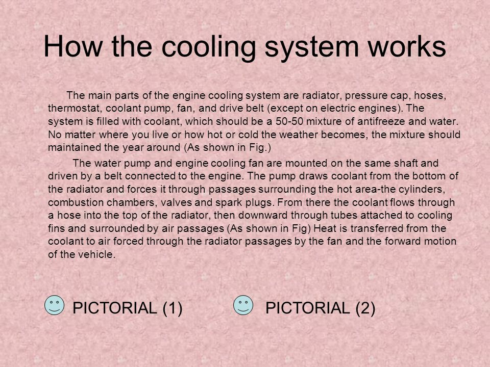 How the cooling system works The main parts of the engine cooling system are radiator, pressure cap, hoses, thermostat, coolant pump, fan, and drive belt (except on electric engines).