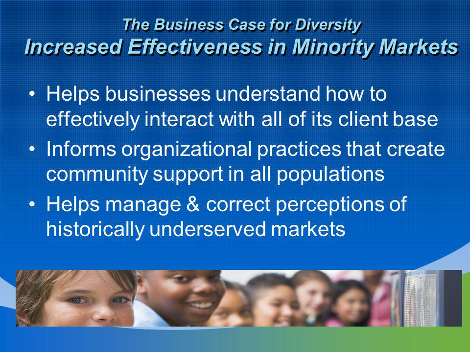 The Business Case for Diversity Increased Effectiveness in Minority Markets Helps businesses understand how to effectively interact with all of its client base Informs organizational practices that create community support in all populations Helps manage & correct perceptions of historically underserved markets