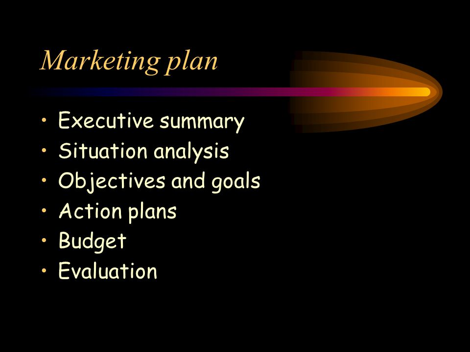Marketing plan Executive summary Situation analysis Objectives and goals Action plans Budget Evaluation