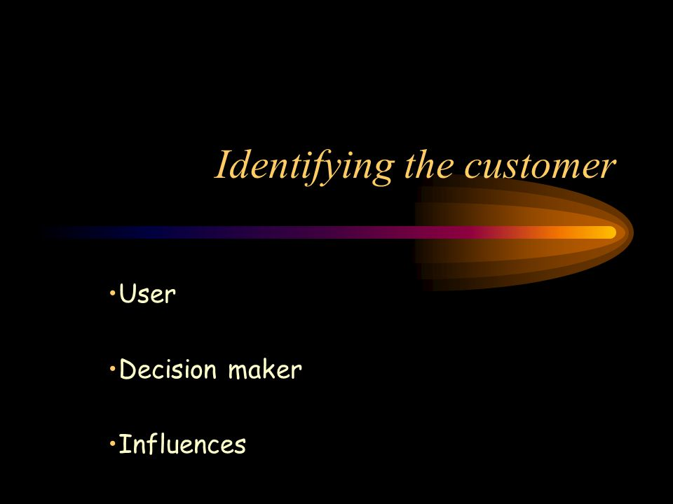 Identifying the customer User Decision maker Influences