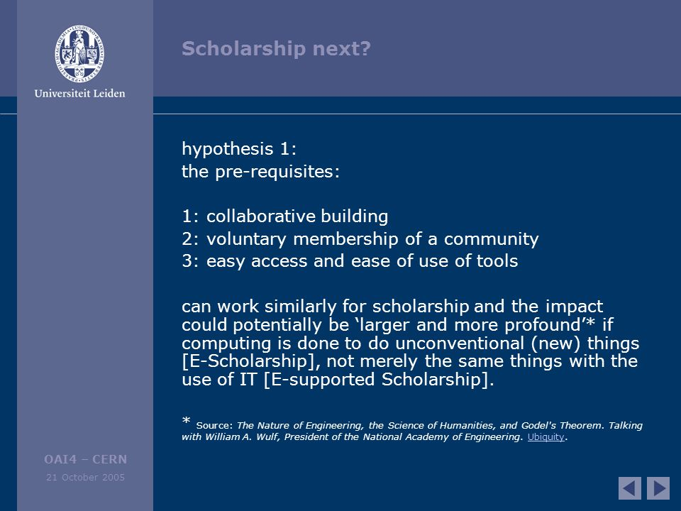 OAI4 – CERN 21 October 2005 Scholarship next.