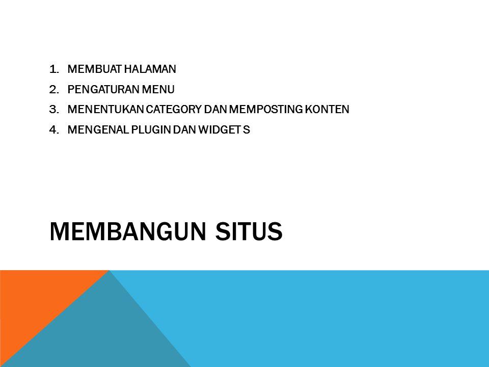 MEMBANGUN SITUS 1.MEMBUAT HALAMAN 2.PENGATURAN MENU 3.MENENTUKAN CATEGORY DAN MEMPOSTING KONTEN 4.MENGENAL PLUGIN DAN WIDGET S