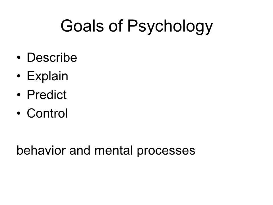 Goals of Psychology Describe Explain Predict Control behavior and mental processes