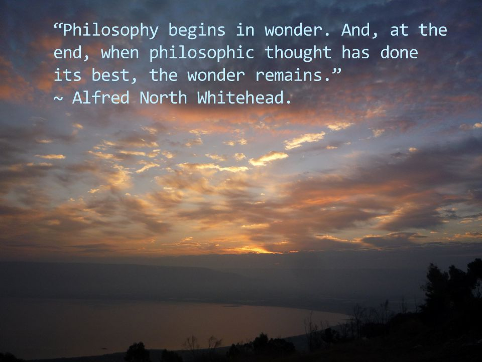 """""""Philosophy begins in wonder. And, at the end, when philosophic thought has done its best, the wonder remains."""" ~ Alfred North Whitehead."""