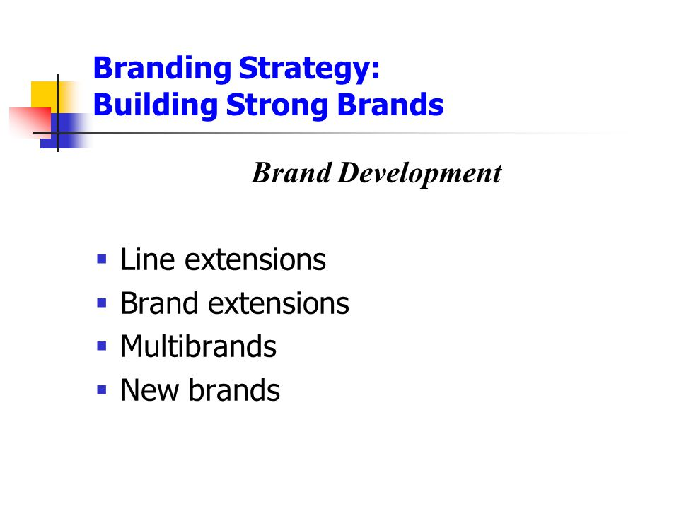 Branding Strategy: Building Strong Brands Brand Development  Line extensions  Brand extensions  Multibrands  New brands