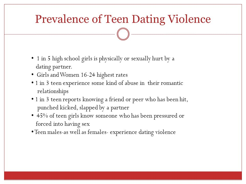 Prevalence of Teen Dating Violence 1 in 5 high school girls is physically or sexually hurt by a dating partner.