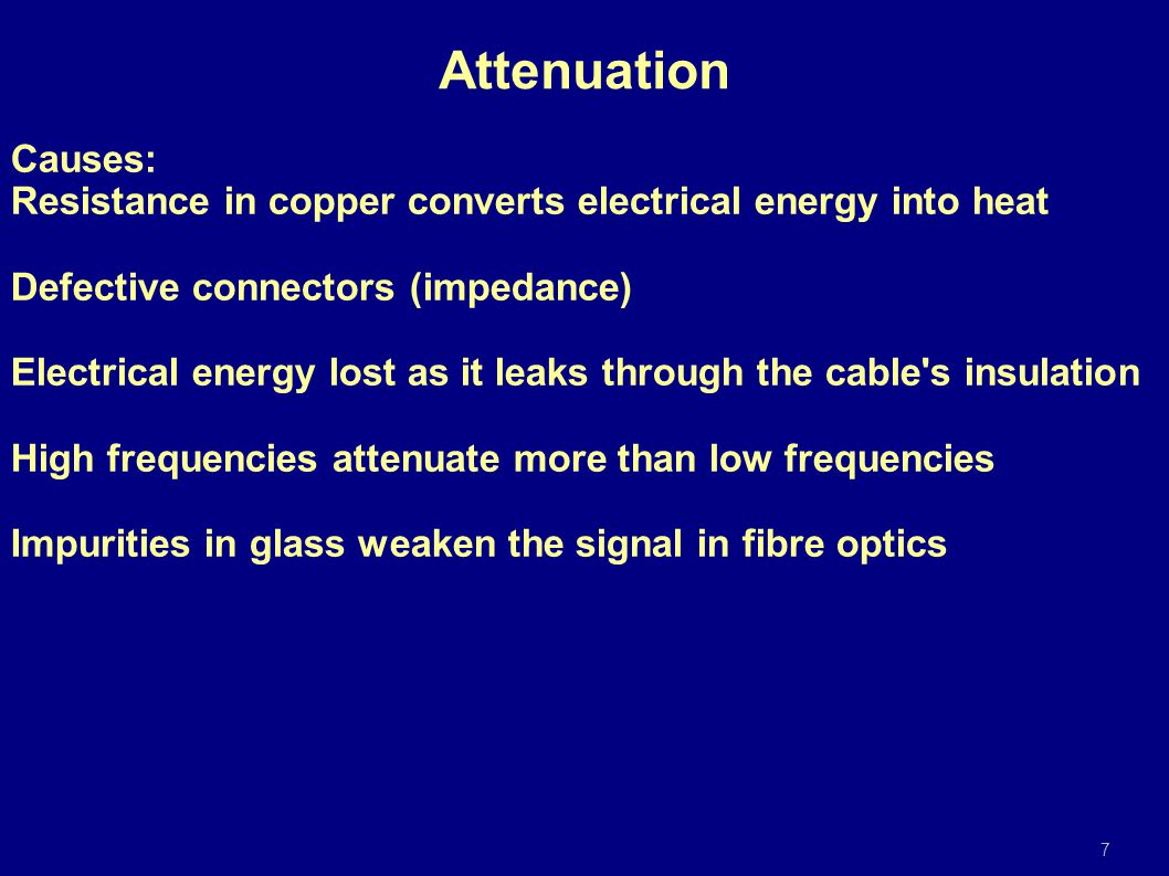 Causes: Resistance in copper converts electrical energy into heat Defective connectors (impedance) Electrical energy lost as it leaks through the cabl