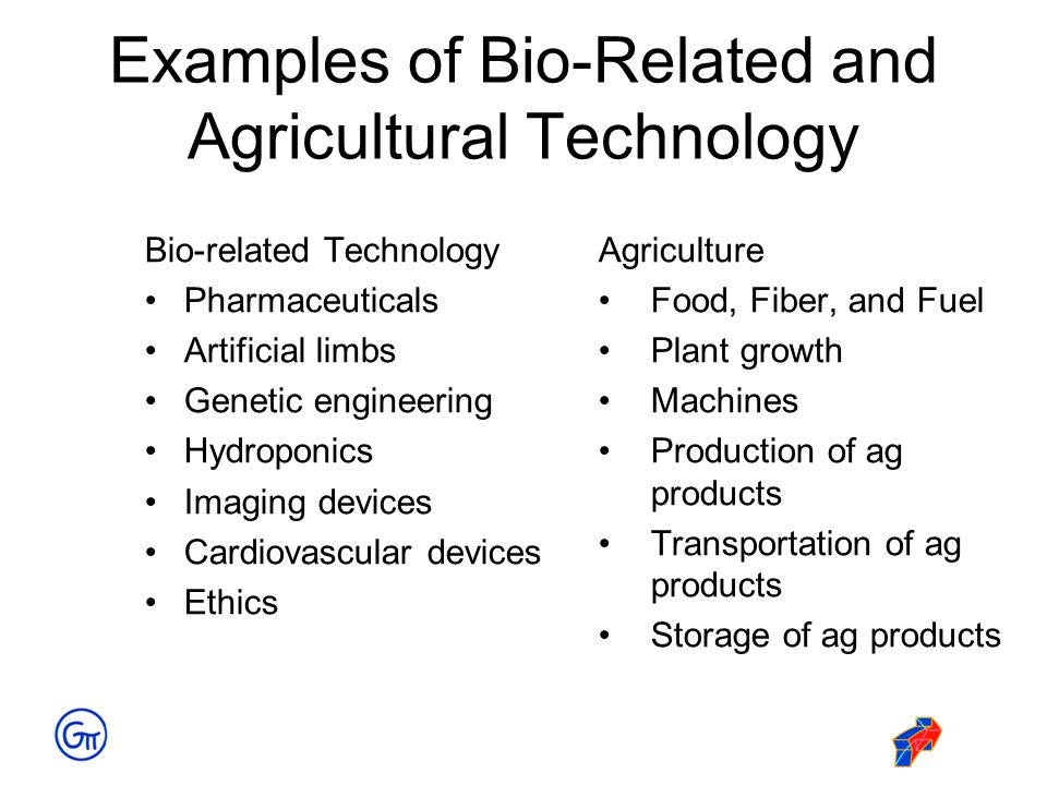 Examples of Bio-Related and Agricultural Technology Bio-related Technology Pharmaceuticals Artificial limbs Genetic engineering Hydroponics Imaging de