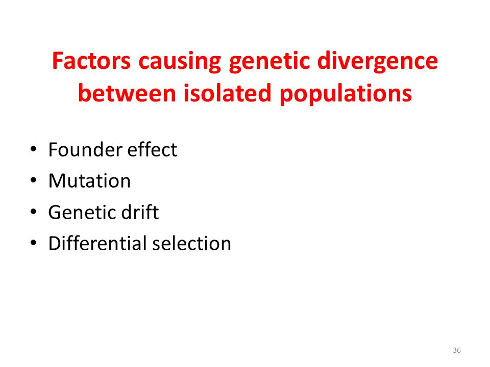 Factors causing genetic divergence between isolated populations Founder effect Mutation Genetic drift Differential selection 36