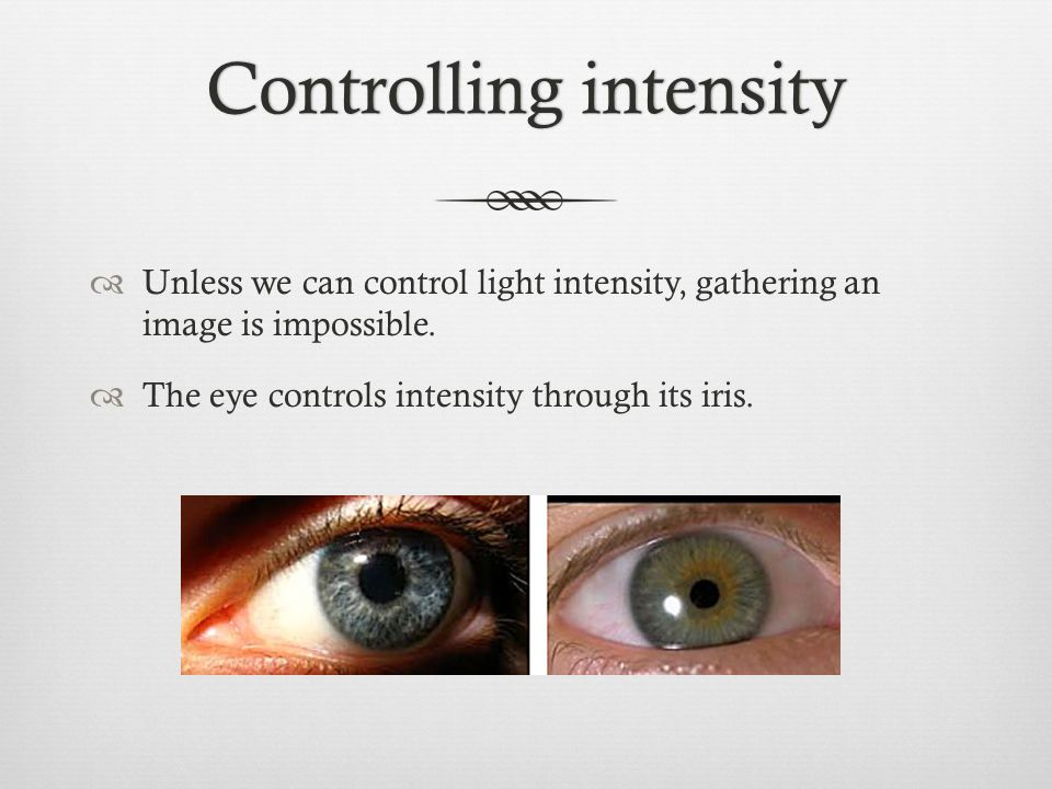 Controlling intensityControlling intensity  Unless we can control light intensity, gathering an image is impossible.