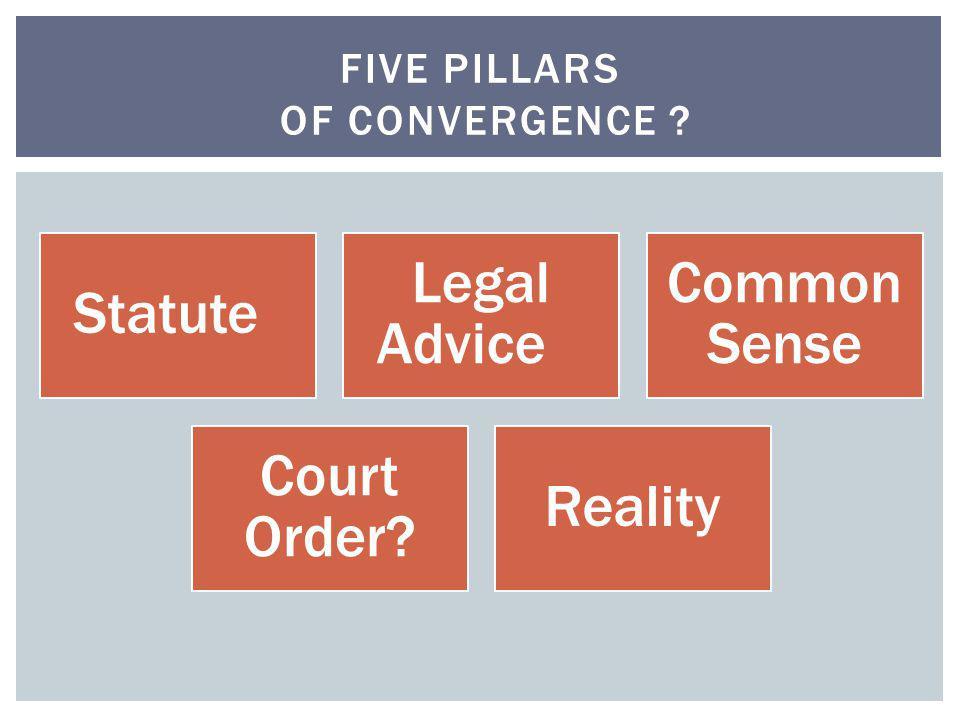 Statute Legal Advice Common Sense Court Order? Reality FIVE PILLARS OF CONVERGENCE ?