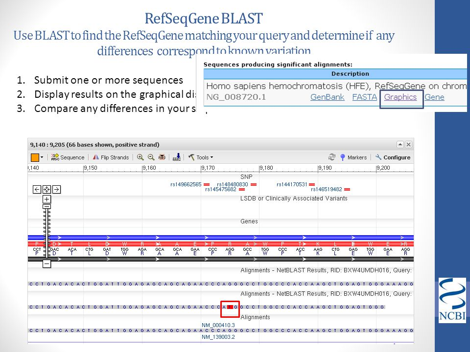 RefSeqGene BLAST Use BLAST to find the RefSeqGene matching your query and determine if any differences correspond to known variation 1.Submit one or m