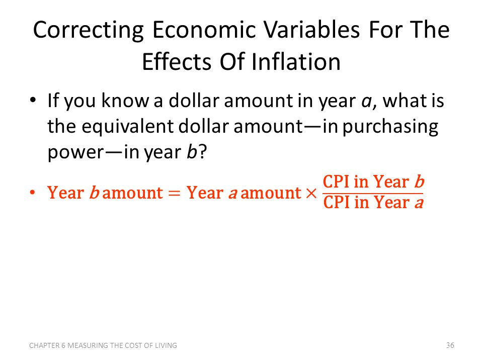 Correcting Economic Variables For The Effects Of Inflation CHAPTER 6 MEASURING THE COST OF LIVING36