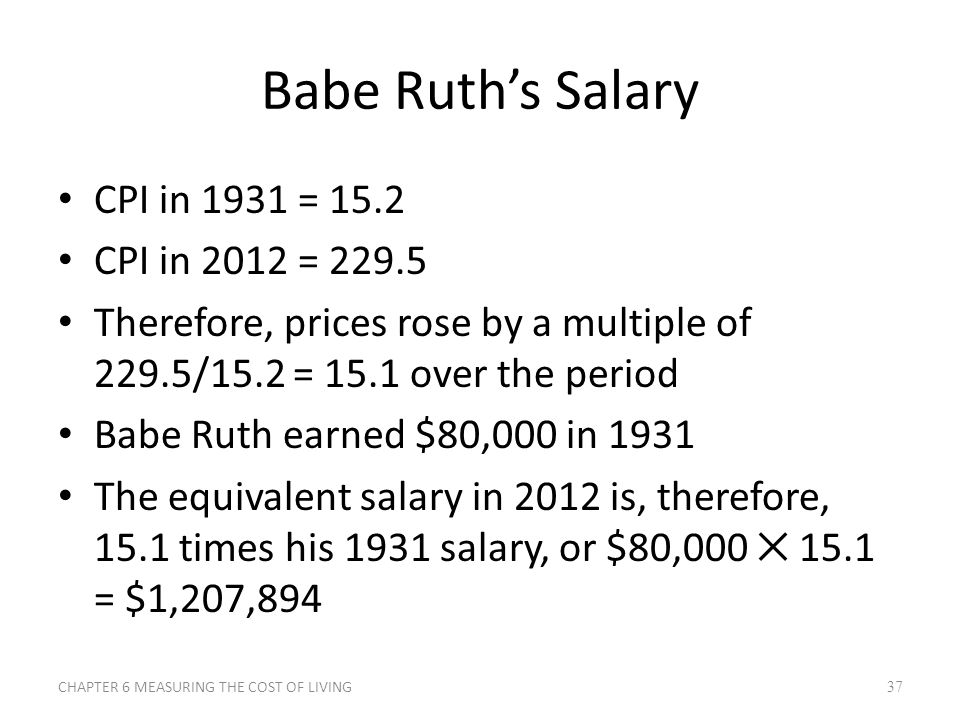 Babe Ruth's Salary CPI in 1931 = 15.2 CPI in 2012 = 229.5 Therefore, prices rose by a multiple of 229.5/15.2 = 15.1 over the period Babe Ruth earned $