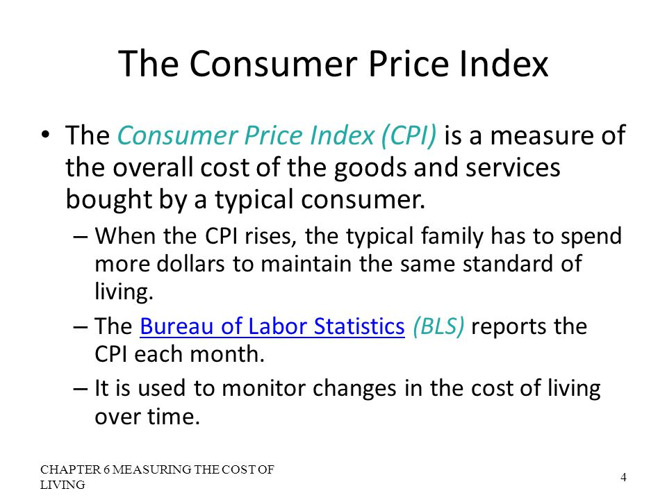 The GDP Deflator Versus the Consumer Price Index The GDP deflator is calculated as follows: CHAPTER 6 MEASURING THE COST OF LIVING 25