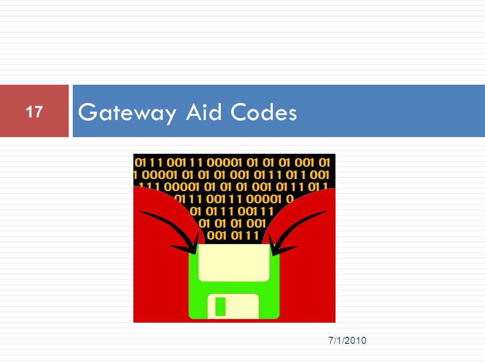 Gateway Aid Codes 7/1/2010 17