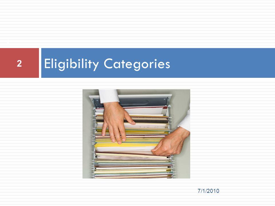 Eligibility Categories 2 7/1/2010 2