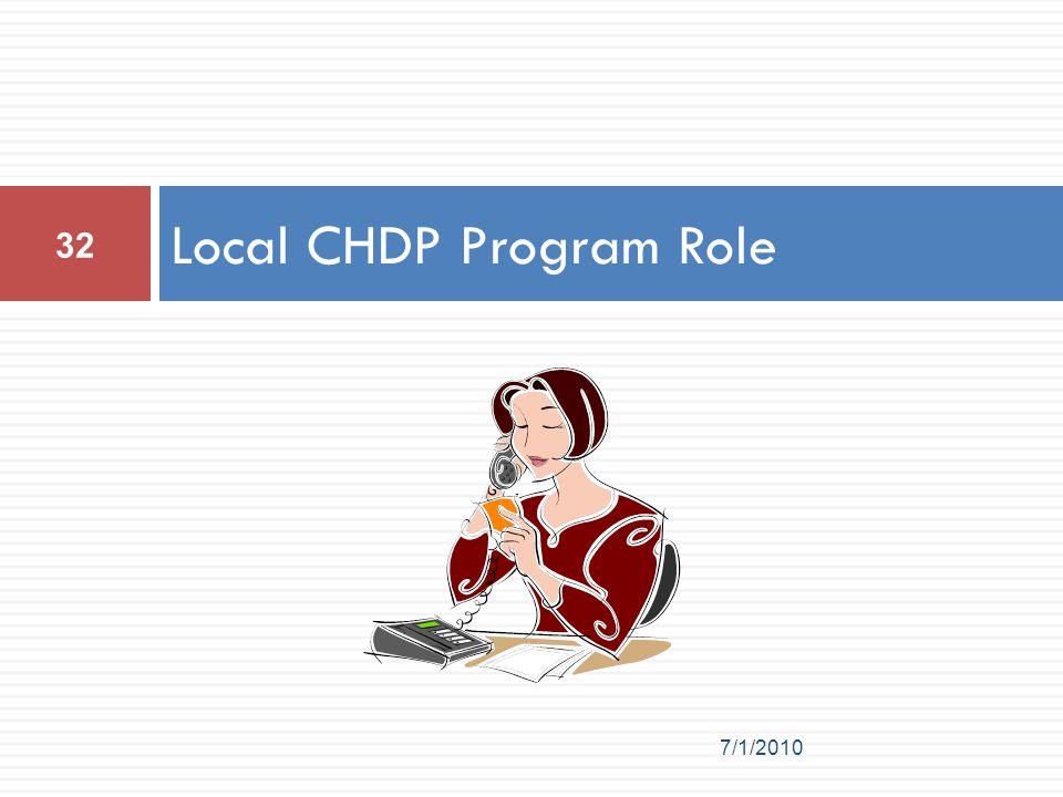 Local CHDP Program Role 32 7/1/2010