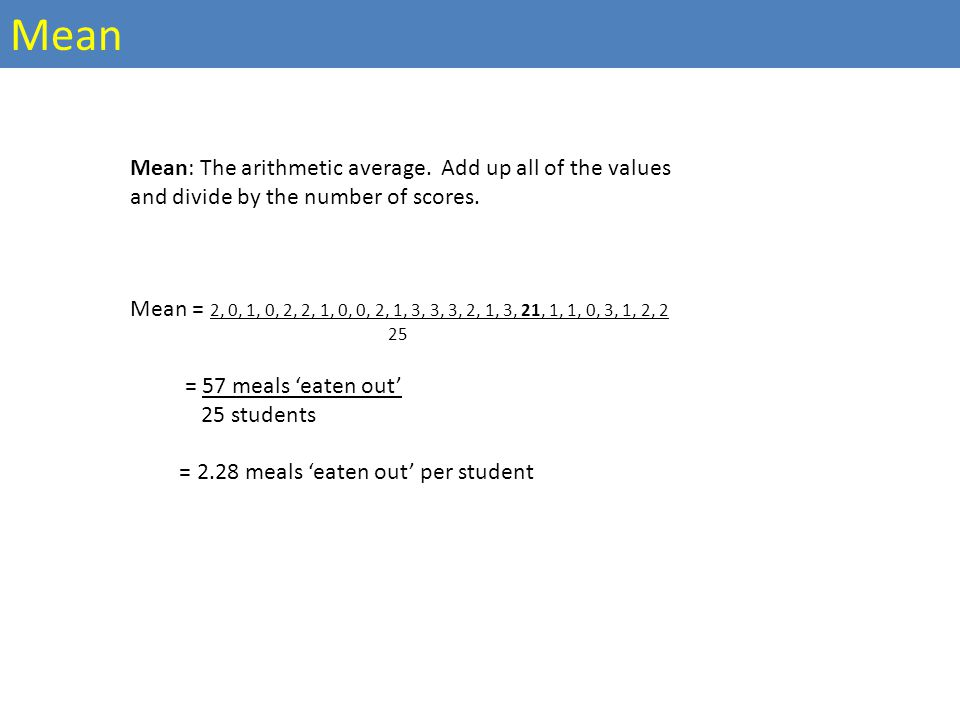 Mean: The arithmetic average. Add up all of the values and divide by the number of scores.
