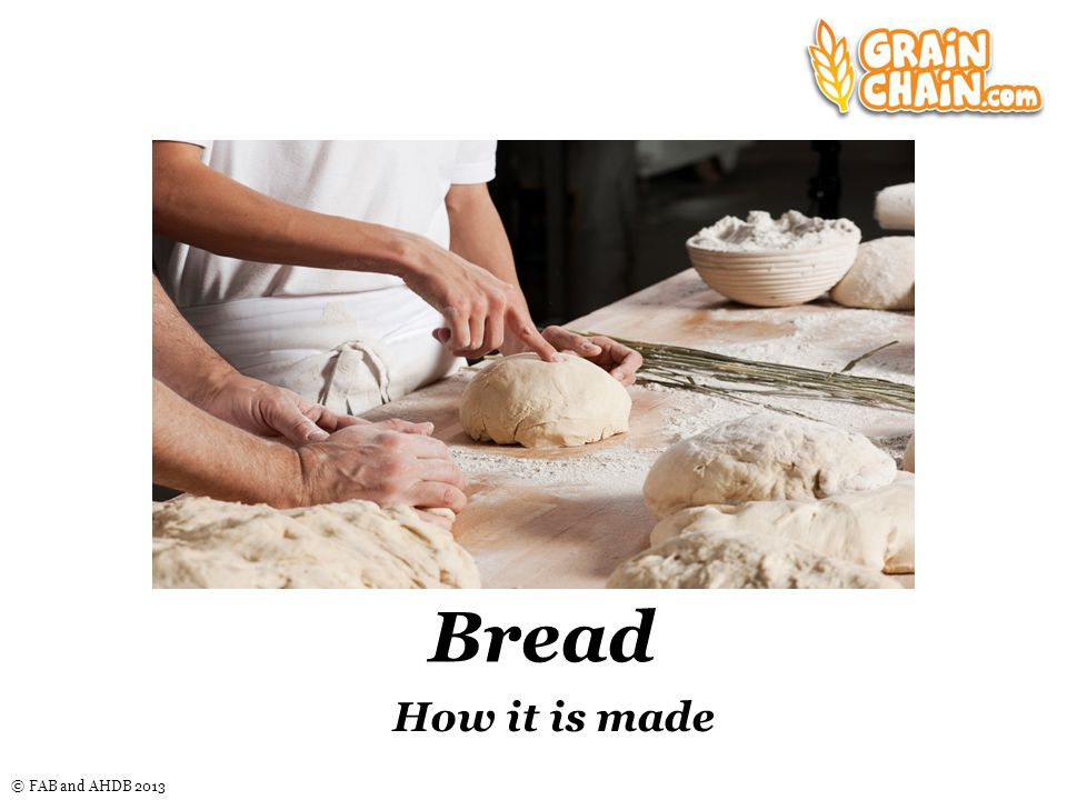 © FAB and AHDB 2013 Bread How it is made Nice graphic here